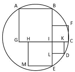 Points a, b, c, d, and e lie on the given circle. point i is the common vertex of four squares shown