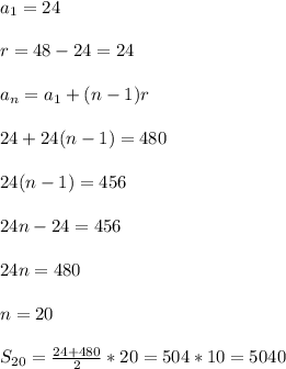 a_{1}=24 \\  \\ r=48-24=24 \\  \\ a_{n}=a_{1}+(n-1)r \\  \\ 24+24(n-1)=480 \\  \\ 24(n-1)=456 \\  \\ 24n-24=456 \\  \\ 24n=480 \\  \\ n=20 \\  \\ S_{20}= \frac{24+480}{2}*20=504*10=5040