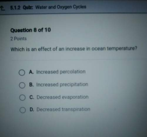 Which is an effect of an increase in ocean temperature? answer in picture!