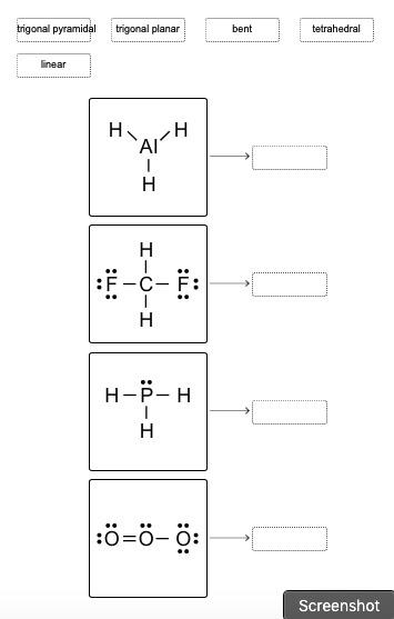Match the molecular shapes to the correct lewis structures. (options provided in the image below)