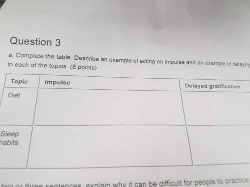 Complete the table. describe an example of acting on impulse and an example of delaying gratificatio