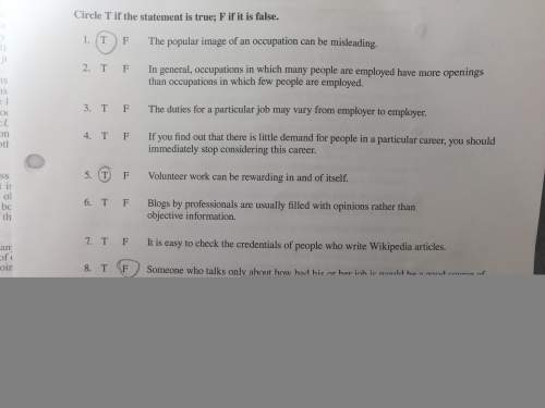 Just need on true or false questions. only 2,3,4,6, and 7.