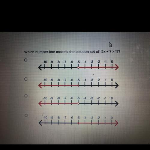 Which number line models the solution set of -2x+7> 17?