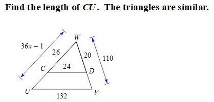 Find the length of cu, the triangles are similar.
