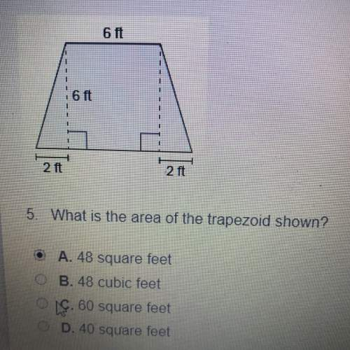 What is the area of the trapezoid shown ?