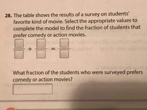 The table shows the results of a survey on students favorite kind of movie. select the appropriate v