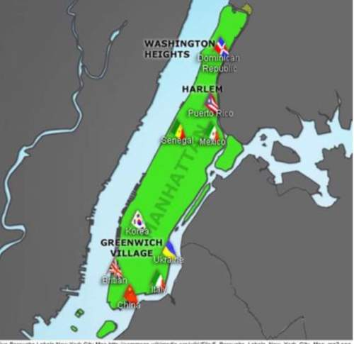 Based on the map, which statement best describes the neighborhood of washington heights? (2 points)