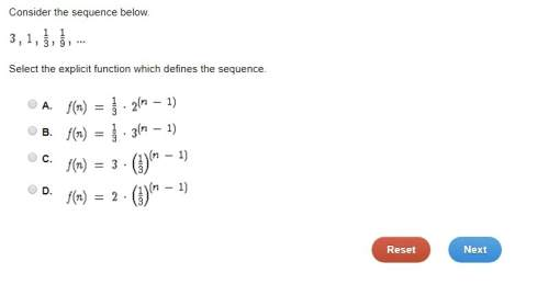 Consider the sequence below. 3 , 1 , 1/3 , 1/9 , select the explicit function which defines the seq