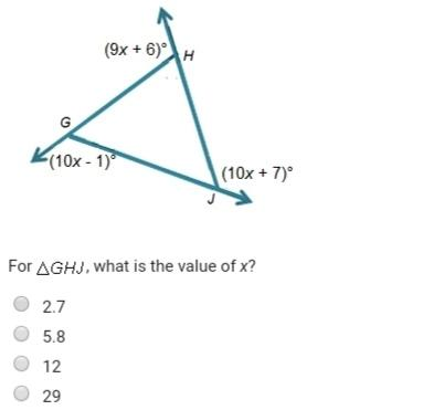 Need asap! brainliest and 15 points! triangle ghj has the exterior angles shown below.