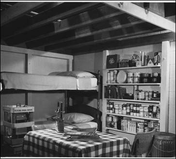 Carefully examine this photograph of a home bomb shelter. fearing a nuclear attack, many people put