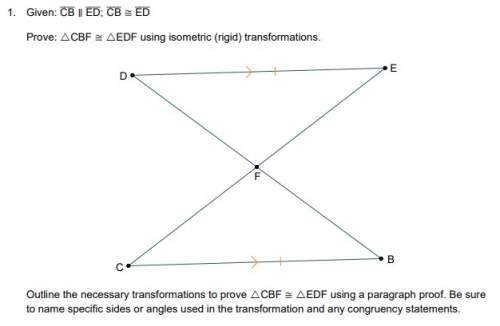 Outline the necessary transformations to prove cbf ≅ edf using a paragraph proof. be sure to name