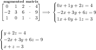 \bf \stackrel{augmented~matrix}{\begin{bmatrix}