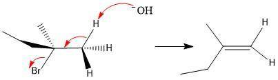 For the following dehydrohalogenation (e2) reaction, draw the zaitsev product(s) resulting from elim