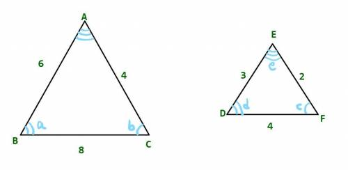 Two similar triangles are shown below:  two triangles are shown. the sides of the triangle on the le