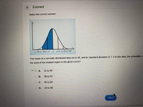 The mean of a normally distributed data set is 45, and its standard deviation is 7. for this data, t