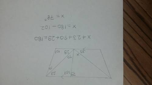 For this figure, find the value of x. x =  [1] do i add all three angles together then take 180 and