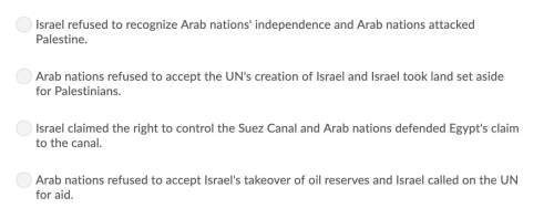 Which best describes the origin of the arab-israeli conflict? view attached image for answer choice