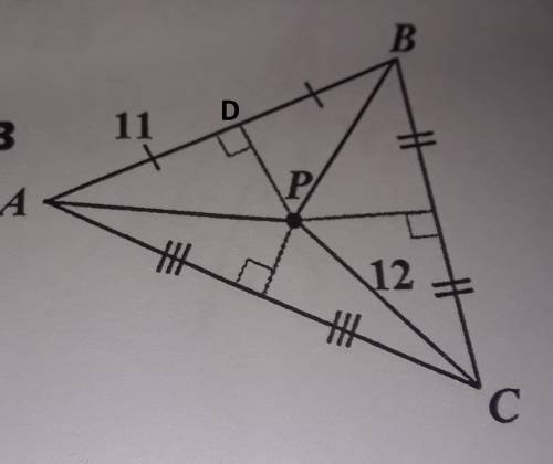 In each triangle p is the circumcenter use circumcenter theorem to solve for the givin values