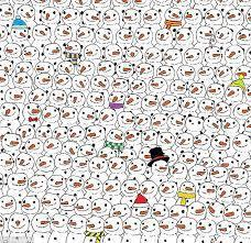 90% will fail! a lonely panda is among the crowd of hundreds of snowmans. why he's there? nobody b