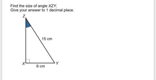 Find the size of angle xyz give your answer to one decimal place. rectangle triangle (angle 90°) and