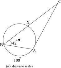 The figure below shows a triangle with vertices a and b on a circle and vertex c outside it. side ac