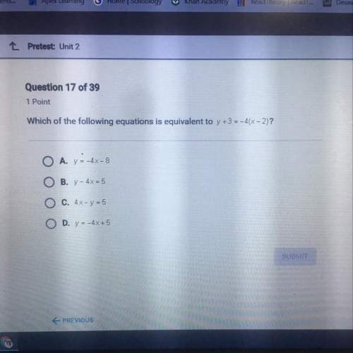 Which of the following equations is equivalent to y+3=-4(x-2)?