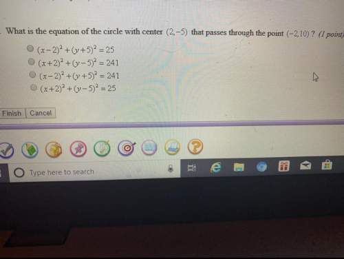 What is the equation of the circle with center (2,-5) that passes through the point (-2.10)?
