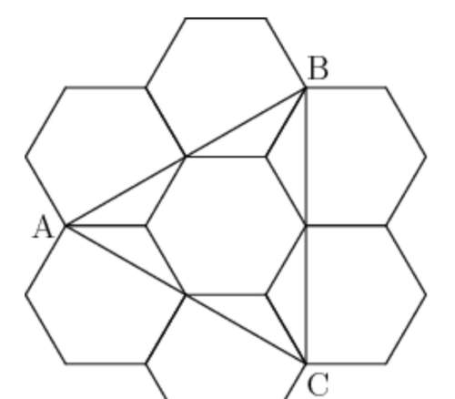 Each side length of the hexagons is 1, what's the area of abc