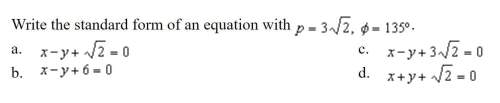 Write the standard form of an equation with (see picture below)