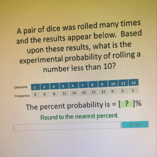 Apair of dice was rolled many times and the results appear below. based upon the results, what is th