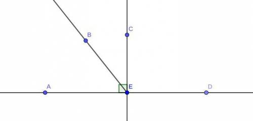 A horizontal line has points A , E, D. A line extends vertically from point E to point C and forms a