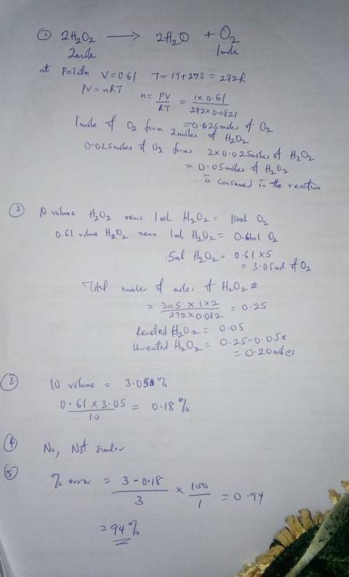 1. Calculate the number of moles of O2 produced using the ideal gas law. Then, use this value to cal
