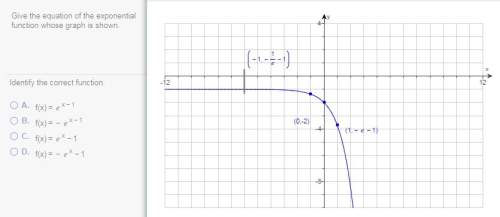 Q4 q20.) give the equation of the exponential function whose graph is shown.