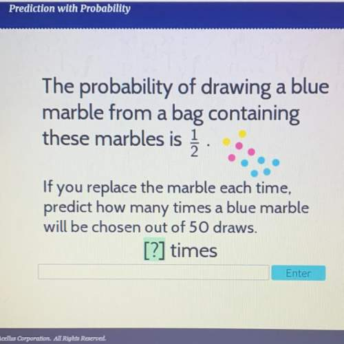 the probability of drawing a blue marble from a bag containing these marbles is 1