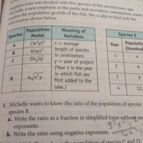 Ineed 1.b it says to write a ratio for species a and b but only using negative exponents pls
