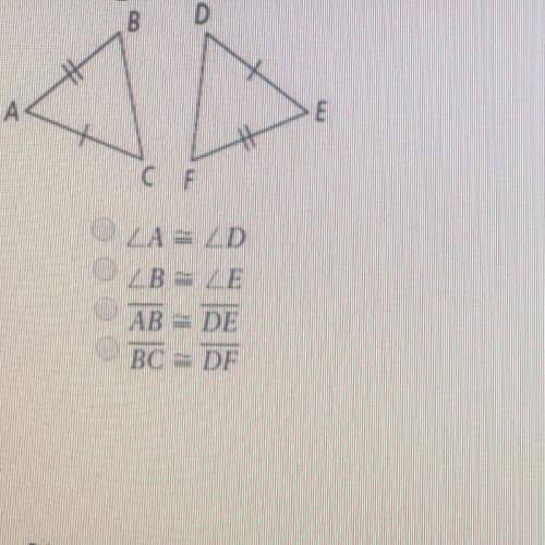 The triangles below are congruent which if the following statements must be true ?