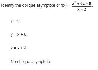 Identify the oblique asymptote of f(x) =