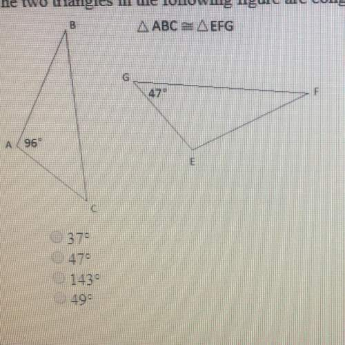 The two triangles in the following figure are congruent. what is m< b
