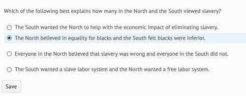 Which of the following best explains how many in the north and south viewed slavery?  i