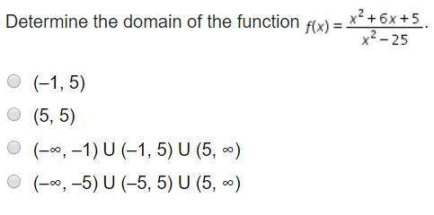 Determine the domain of the function f(x) = x^2 + 6x +5/x^2 - 25a. (-1, 5)b. (5, 5