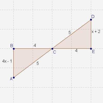 If abc dec, what is the value of x?  x = 8  x = 5  x = 4