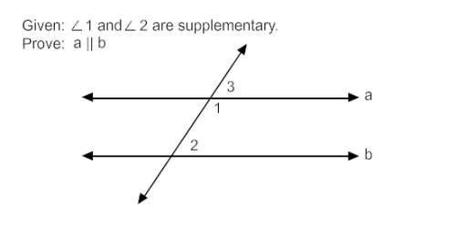 Proof:  its is given that ∠1 and ∠2 are supplementary. ∠1 and ∠3 are also supplementary, so <