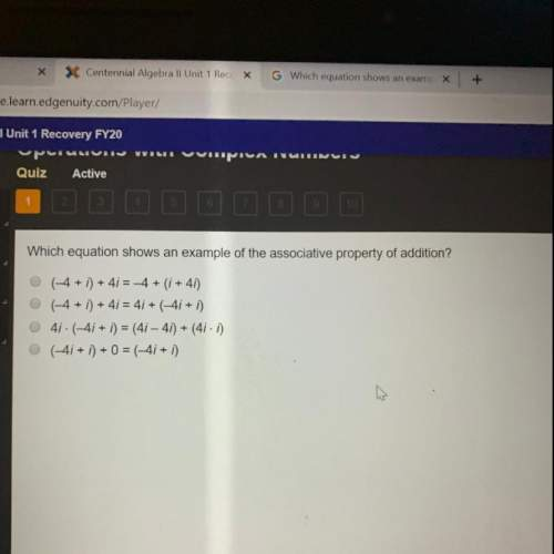 Which equation shows an example of the associative property of addition?