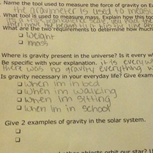 Give two examples of gravity in the solar system