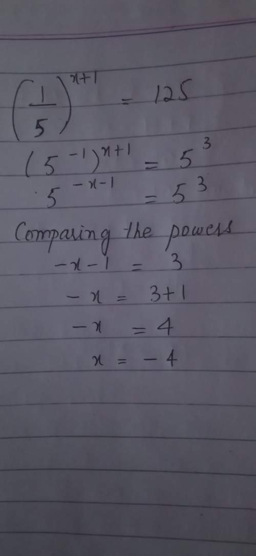 (1/5)^(x+1)=125 how do i solve this? 