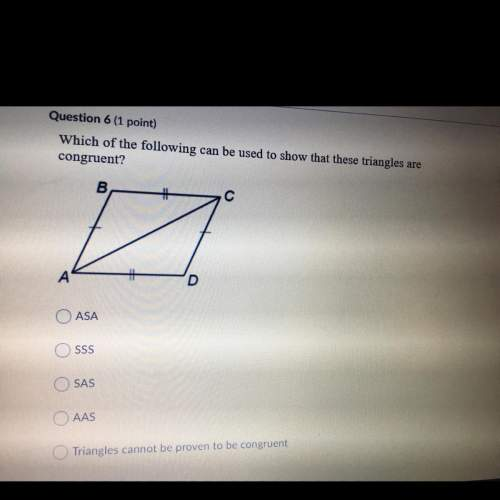 Which of the following can be used to show that these triangles are congruent?  asa