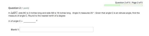 In triangle abc , side bc is 3 inches long and side ab is 16 inches long. angle a measures 20 °. giv