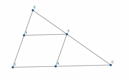 The perimeter of △cde is 55 cm. a rhombus dmfn is inscribed in this triangle so that vertices m, f,