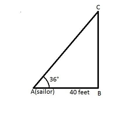 Asailor is looking at a kite. if he is looking at the kite at an angle of elevation of 36and the dis