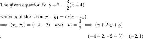 \text{The given equation is: }y+2=\dfrac{3}{2}(x+4)\\\\\text{which is of the form: }y-y_1=m(x-x_1)\\\implies(x_1, y_1)=(-4, -2)\quad and \quad m=\dfrac{3}{2}\implies (x+2, y+3)\\\\.\qquad \qquad \qquad \qquad \qquad \qquad \qquad \qquad \qquad (-4+2, -2+3)=(-2, 1)